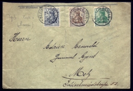 LETTRE ALSACE-LORRAINE- KLEIN-ROSSELN POUR METZ- TIMBRAGE TRICOLORE N° 51-52-53 DE 1902- CAD TYPE 6 NET-   3 SCANS - Poststempel (Briefe)
