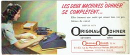 Buvard. Machine à Calculer. Original-Odhner. Bruxelles, Rue Du Marché Aux Herbes. - Buvards, Protège-cahiers Illustrés