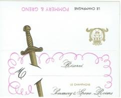 Carte De Réservation De Table. Publicité Champagne Pommery Et Greno. Reims. - Alcools