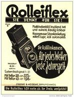 Original-Werbung/Inserat/ Anzeige 1930 - ROLLEIFLEX-KAMERA / FRANKE & HEIDECKE BRAUNSCHWEIG  - Ca. 70 X 100 Mm - Publicités