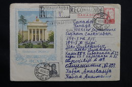 U.R.S.S. - Entier Postal + Complément En Recommandé De Karaganda Pour Le Canada En 1956 - L 28534 - 1950-59