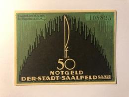 Allemagne Notgeld Saalfeld 50 Pfennig - Collections