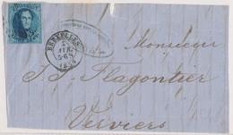 1859  BRIEFFRONT COB 7(?) V. BRUXELLES N. VERVIERS Zie Scan(s) - 1858-1862 Medaillen (9/12)