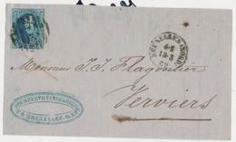 1862 BRIEFFRONT COB 11(?) V. BRUXELLES(NORD) N. VERVIERS Zie Scan(s) - 1858-1862 Medaillen (9/12)