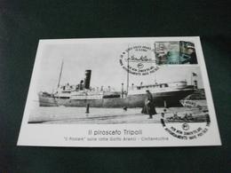 NAVE SHIP PIROSCAFO TRIPOLI  PORTO CIVITAVECCHIA POSTALE SULLA ROTTA GOLFO ARANCI 85° ANN. AFFONDAMENTO - Ferries