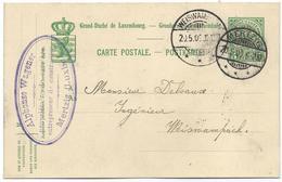 Nr. 63 - Alponse Wagener, Mertzig, Carrières Et Entrepreneur De Constructions - Stempel 20-05-1909 - Marcophilie - EMA (Empreintes Machines)