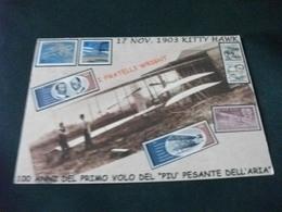 AEREO FRATELLI WRIGHT 100 ANNI DEL PRIMO VOLO  FRANCOBOLLI RAPPRESENTAZIONI RETRO FIRMA ILLUSTRATORE ASSERETO - ....-1914: Precursori