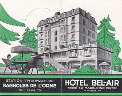Publicité Hôtel Bel-Air  Tessé La Madeleine (61) 4 Volets Recto Verso Avec Texte Et Photos  Circa 1950 - Advertising