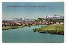 1920 YUGOSLAVIA, SLOVENIA, LJUBLJANA, RIVER SAVA  WITH STEINER ALPS,ILLUSTRATED POSTCARD, USED - Slovenia