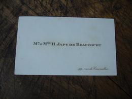 H Japy De Beaucourt Rue Courcelles Carte De Visite - Visiting Cards