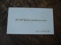 H Japy De Beaucourt Rue Courcelles Carte De Visite - Cartoncini Da Visita