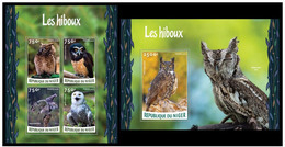 Niger 2015 Fauna Birds Owls Klb + S/s MNH - Owls