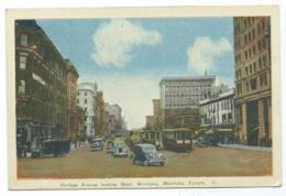 CPSM COLORISEE MANITOBA, AUTOS VOITURES ANCIENNES, TACOTS, TRAM, TRAMWAY, PORTAGE AVENUE LOOKING WEST WINNIPEG, CANADA - Other