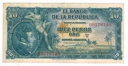 Colombia 10 Pesos 1953,  VF. RARE. - Colombia
