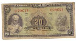Colombia 20 Pesos 1951,  F/VF. RARE. - Colombia