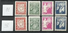 LETTLAND Latvia 1936 Michel 242 - 245 Wm Normal + Inverted * - Lettland
