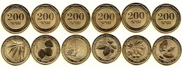 ARMENIA 200 DRAM 6 COINS SET UNC 2014 WILD TREES OF ARMENIA - Armenië
