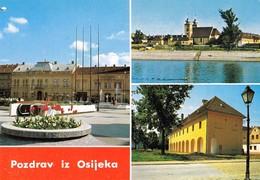 Croatia Osijek 1992 / Center, Church, Drava River / Pozdrav, Greetings - Croacia