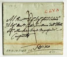 1492 PREFILATELICA CUNEO CEVA X TORINO 1814 CON TESTO - 1. ...-1850 Prefilatelia