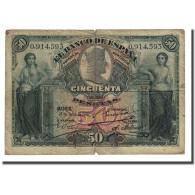 Billet, Espagne, 50 Pesetas, 1907-07-15, KM:63a, B+ - 50 Pesetas