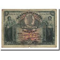 Billet, Espagne, 50 Pesetas, 1907-07-15, KM:63a, B+ - [ 1] …-1931 : Eerste Biljeten (Banco De España)