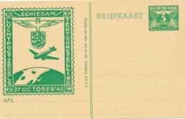Nederland - 1945 - 5 Cent Cijfer Nooduitgifte Met Bijdruk Luchtposttentoonstelling Schiedam - FIL36 - Ongebruikt - Ganzsachen