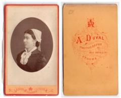 (Photo Carte De Visite) 291, Portrait De Femme, Tourangelle, Photo A Duval à Tours - Photos