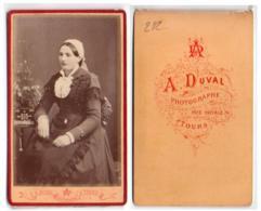 (Photo Carte De Visite) 292, Portrait De Femme, Tourangelle, Photo A Duval à Tours - Photos