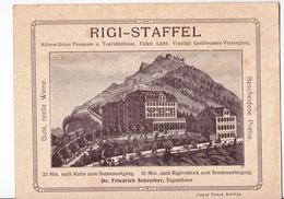 Carton Publicitaire Hotel RIGI STAFFEL (Suisse)  Touristenhaus Gravure DR Friedrich Schreiber Nota - Switzerland
