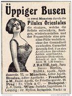 Original-Werbung/Anzeige 1909 - ÜPPIGER BUSEN / PILULES ORIENTALES - Ca. 45 X 60 Mm - Reclame