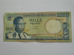 1000 Francs 1964 - Banque National Du Congo  **** EN ACHAT IMMEDIAT **** Billet Assez Rare - Congo