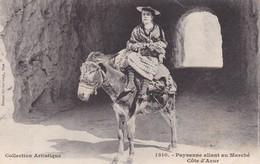 PAYSANNE ALLANT AU MARCHE. COTE D'AZUR. GILETTA. ANE DONKEY. CIRCA 1905s - BLEUP - Personajes