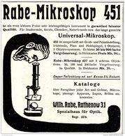Original-Werbung/ Anzeige 1913 - RABE MIKROSKOP 451 - WILHELM RABE - RATHENOW - Ca. 90 X 100 Mm - Werbung