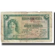 Billet, Espagne, 5 Pesetas, 1935, KM:85a, AB+ - [ 2] 1931-1936 : Republiek