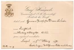 1890 GERMANY, ITALY, NAPOLY, NAPLES, BATTLESHIP, FRIEDRICH DER GROSSE, CAPTAINS INVITATION - Boats
