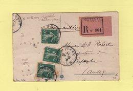 Type Semeuse - Carte Postale Recommandee - Modane - Savoie - 1911 - Marcophilie (Lettres)