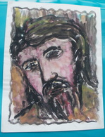 Peinture Sur Papier, Représenant La Tête Du Christ Sur La Croix - Autres Collections
