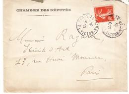 FRANCE - Enveloppe En Provenance De LA Chambre Des Deputes Ayant Circulée Le 22.10.1915 - Variedades Y Curiosidades
