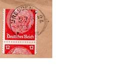 """1935 - PERFIN - PERFORE  S K W  Et Timbre Coupé """"a Cheval"""" - Cachet DRESDEN (Devant D'enveloppe Seulement) - Germany"""
