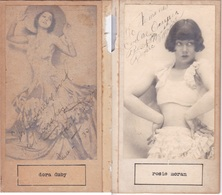 DORA DUBY; ROSIE MORAN. AUTOGRAPHE ORIGINAL ONE ATTACHED TO THE OTHER. CIRCA 1930 SIZE 8.5x16cm - BLEUP - Autógrafos