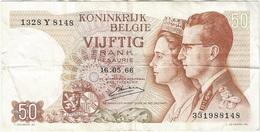 Bélgica - Belgium 50 Francs 16-5-1966 Pk 139 3 Firma Kestens Ref 36 - Otros