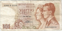 Bélgica - Belgium 50 Francs 16-5-1966 Pk 139 4 Firma Lauwerijens Ref 37 - Otros