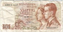 Bélgica - Belgium 50 Francs 16-5-1966 Pk 139 4.r REPLACEMENT (I) Firma Lauwerijens Ref 38 - Otros