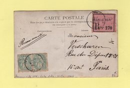 Type Blanc - Carte Photo Recommandee Tarif Des OPR 5c (au Recto) + 10c (au Verso) - Aubenas - 1906 - Rare - 1877-1920: Periodo Semi Moderno
