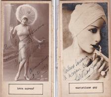 ISSA MARCUE; CHRISTIANE GUY. AUTOGRAPHE ORIGINAL ONE ATTACHED TO THE OTHER. CIRCA 1930 SIZE 8.5x16cm - BLEUP - Autógrafos