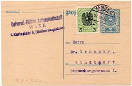 AUSTRIA 1921. Entire Postal Card Of 2 Kronen Plus Additional Postage Of 3 Kronen To Stuttgart, Germany - 1918-1945 1. Republik