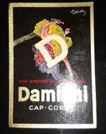 CAPPIELLO DAMIANI CAP CORSE VIN APERITIF QUINQUINA ANCIENNE ETIQUETTE ILLUSTRATEUR BORD DORE ALCOOL WINE - Pubblicitari