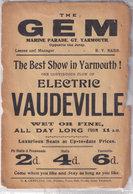 Great Yarmouth Antique Vaudeville Theatre Advertising Handbill Ephemera - Great Yarmouth