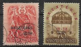 UNGHERIA 1938 RITORNO DEI TERRITORI DEL NORD YVERT. 504-505 USATA VF - Ungheria