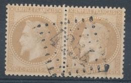 N°28 PAIRE OBLITERATION BON INDICE - 1863-1870 Napoleon III With Laurels
